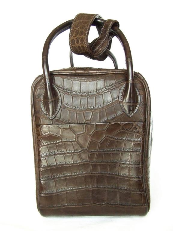 Exceptionnal Hermes Lindy Handbag Brown Matte Crocodile Niloticus PHW 30 cm 6