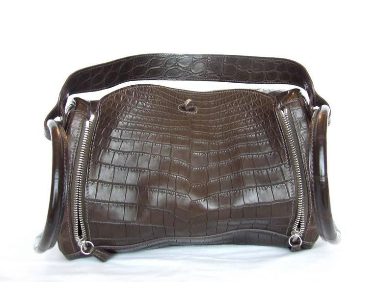 Exceptionnal Hermes Lindy Handbag Brown Matte Crocodile Niloticus PHW 30 cm 9