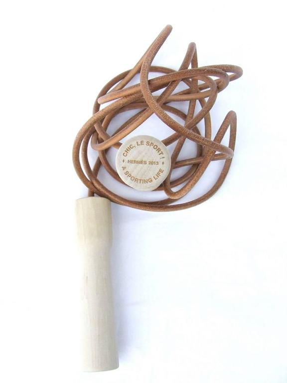 Rare Hermes Jumping Rope In Leather and Wood Limited Edition Never Used 6