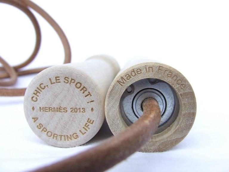 Rare Hermes Jumping Rope In Leather and Wood Limited Edition Never Used 7