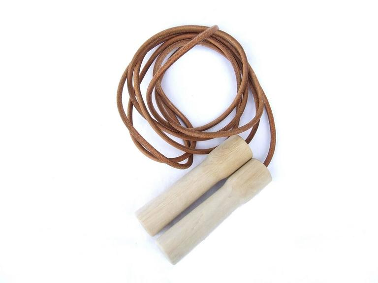 Rare Hermes Jumping Rope In Leather and Wood Limited Edition Never Used 9