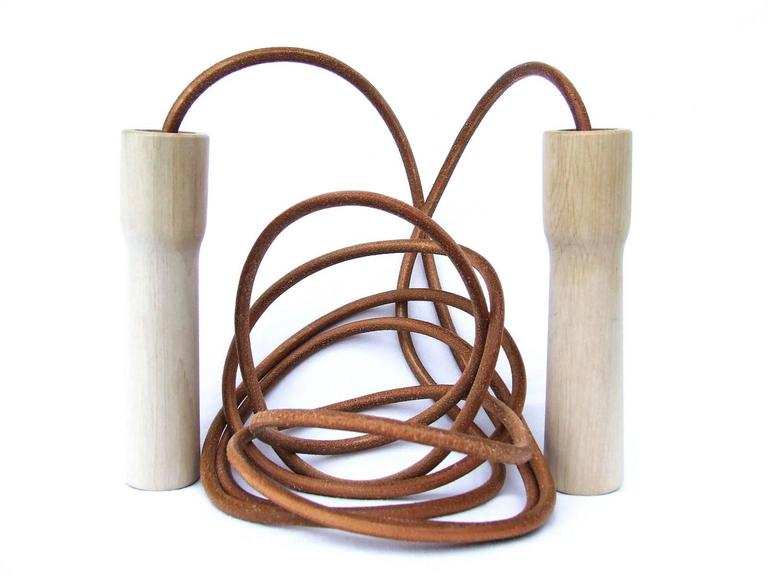 Rare Hermes Jumping Rope In Leather and Wood Limited Edition Never Used 10