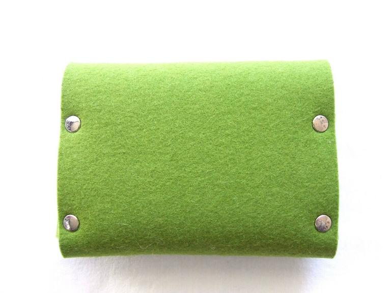 Women's or Men's Hermes Felt Clutch Bag Purse Playing Cards Case Anise Green in Box