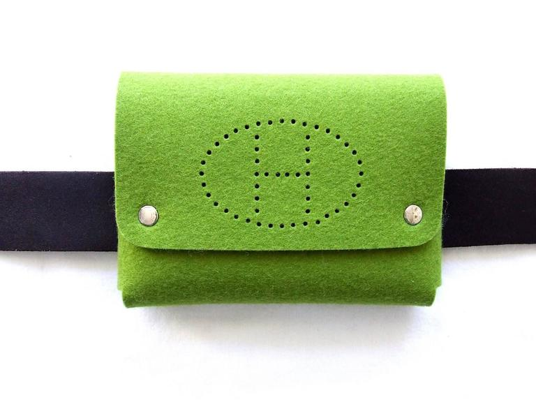 Hermes Felt Clutch Bag Purse Playing Cards Case Anise Green in Box 8