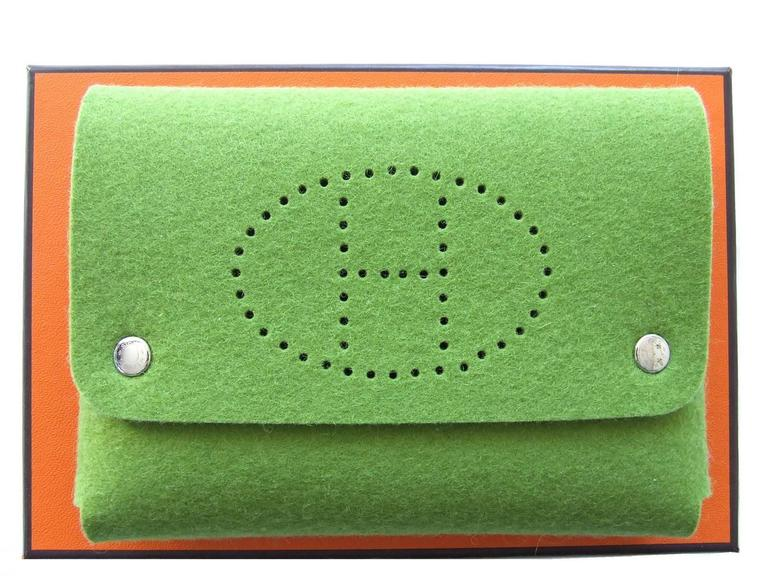 Hermes Felt Clutch Bag Purse Playing Cards Case Anise Green in Box 10