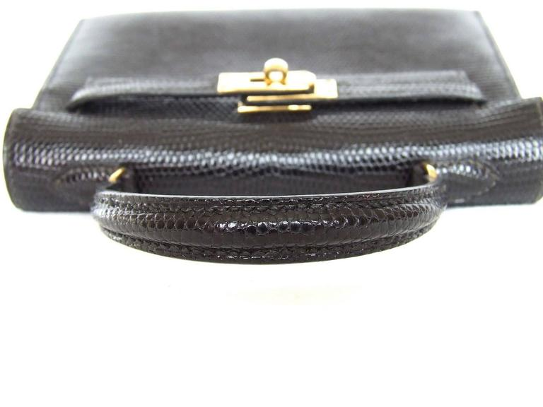 RARE Amazing Hermes Micro Kelly 15 cm Black Lizard GHW 3 ways Mini Bag In Excellent Condition For Sale In ., FR