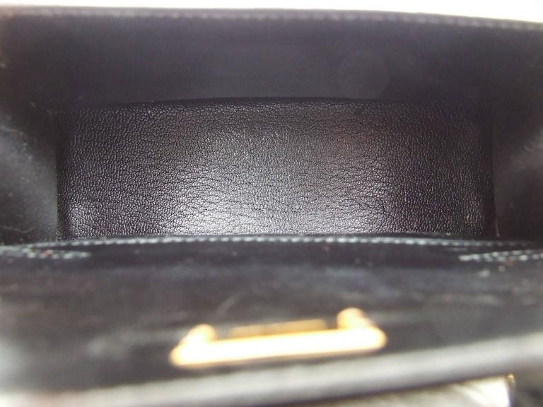 Women's RARE Amazing Hermes Micro Kelly 15 cm Black Lizard GHW 3 ways Mini Bag For Sale