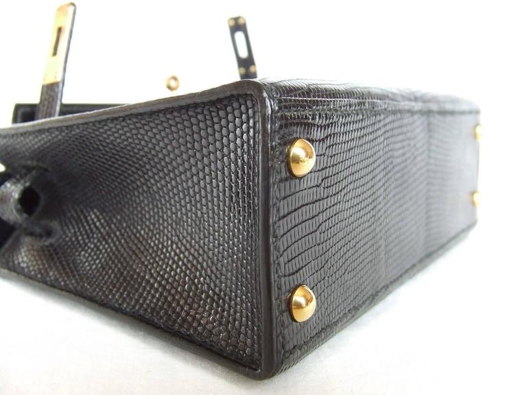RARE Amazing Hermes Micro Kelly 15 cm Black Lizard GHW 3 ways Mini Bag For Sale 1