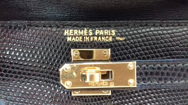 RARE Amazing Hermes Micro Kelly 15 cm Black Lizard GHW 3 ways Mini Bag For Sale 3