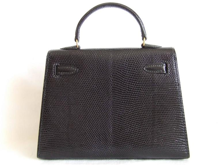 RARE Amazing Hermes Micro Kelly 15 cm Black Lizard GHW 3 ways Mini Bag For Sale 4