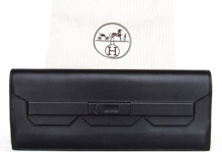 Rare Hermes Kelly Shadow Evercalf Long Pochette Clutch Handbag Wallet 10