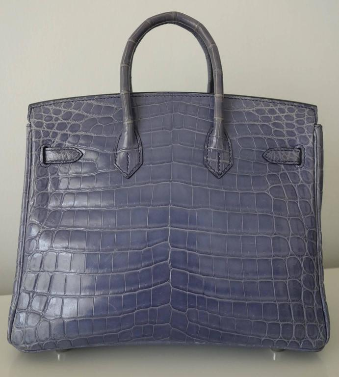 "Gorgeous Authentic Hermes Handbag  ""BIRKIN""  Made in France  Stamp K in a square  Made of Crocdile Niloticus skin and Palladium Hardware  Colorway: Bleu Brighton. Not made anymore !  Lined wih matching leather  1 main compartment, 1"