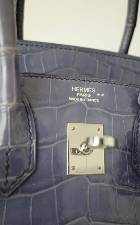 Gray RARE Hermes Birkin 25 Handbag Bleu Brighton Crocodile Nilo Palladium Hdw For Sale