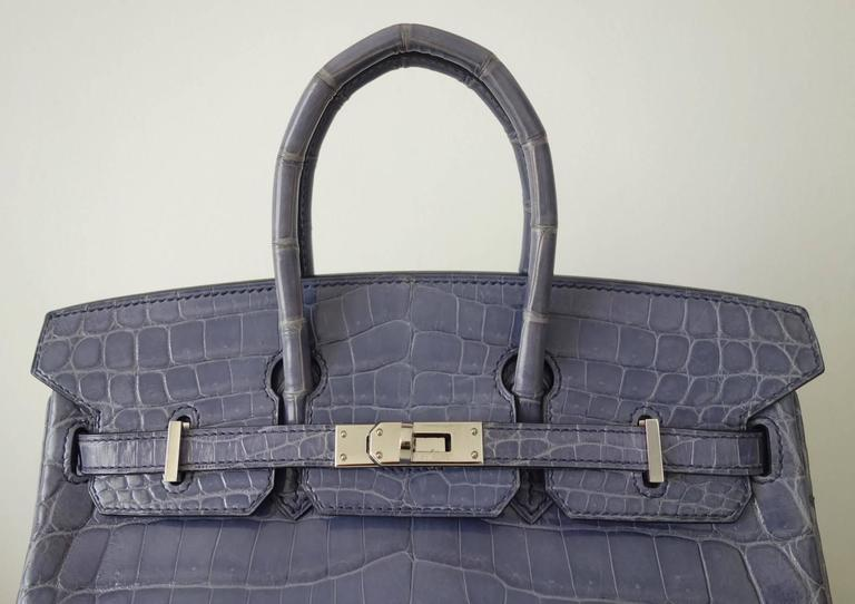 Women's RARE Hermes Birkin 25 Handbag Bleu Brighton Crocodile Nilo Palladium Hdw For Sale