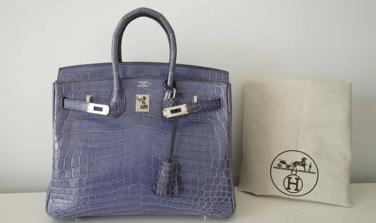 RARE Hermes Birkin 25 Handbag Bleu Brighton Crocodile Nilo Palladium Hdw For Sale 5