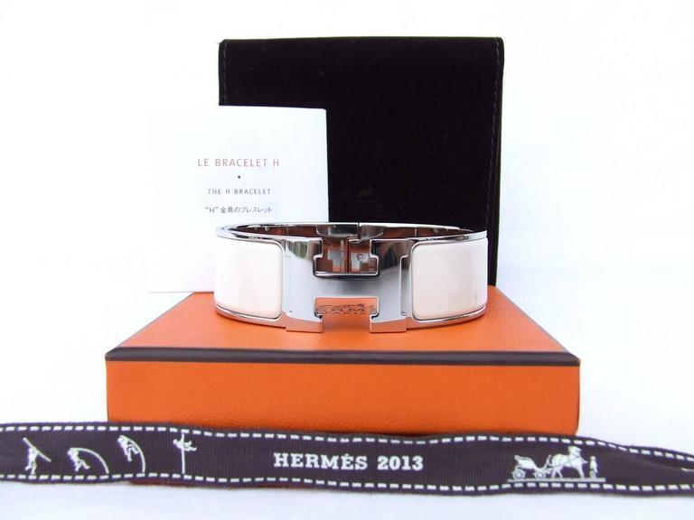 df466fda8f0 ... new zealand hermes clic clac h enamel bracelet craie chalk phw large gm  for sale 5