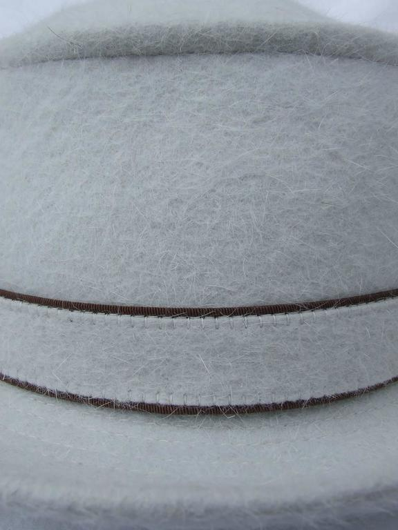MOTSCH Paris For HERMES Felt Hat Light Grey Size 56 In New never worn Condition For Sale In ., FR