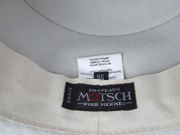 MOTSCH Paris For HERMES Felt Hat Light Grey Size 56 For Sale 3