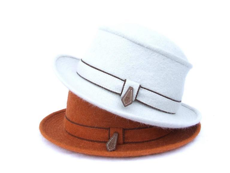 MOTSCH Paris For HERMES Felt Hat Light Grey Size 56 For Sale 5
