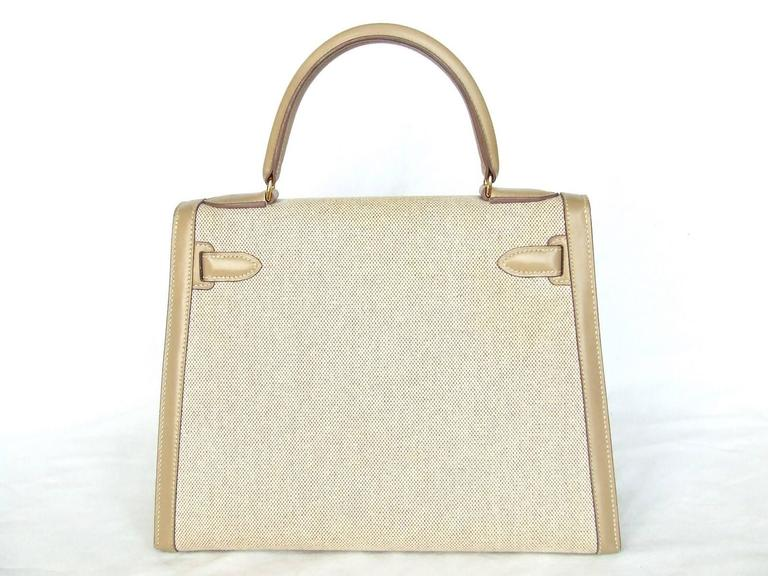 Gorgeous Hermes Kelly 28 Sellier Rigid Bag Bi Matiere Canvas Leather Beige GHW 2