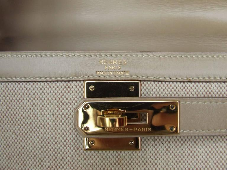 Gorgeous Hermes Kelly 28 Sellier Rigid Bag Bi Matiere Canvas Leather Beige GHW 5