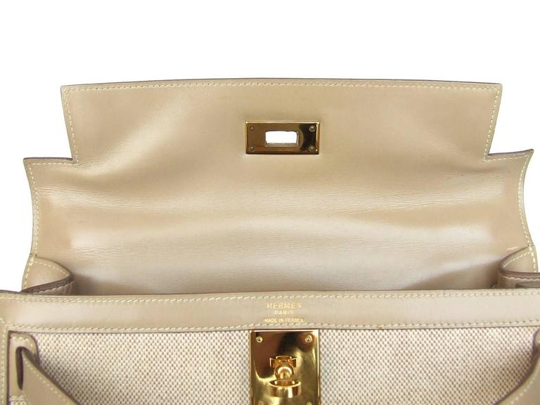 Gorgeous Hermes Kelly 28 Sellier Rigid Bag Bi Matiere Canvas Leather Beige GHW 6