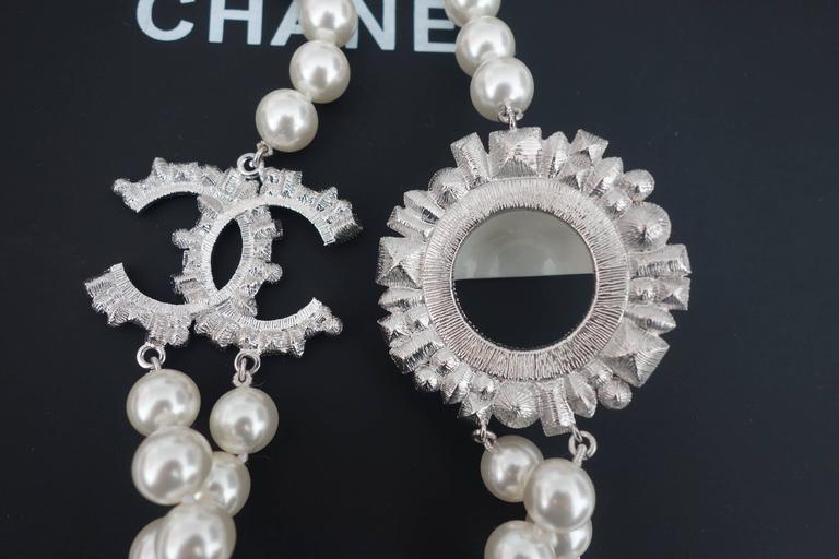 CHANEL CC Smiley Emoji Crystal White Pearl Beaded Long Necklace 2016 8
