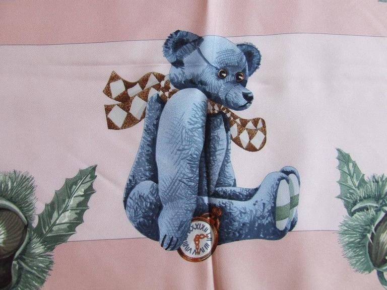 Hermes Silk Scarf Confidents des coeurs Bears Pink Blue 90 cm For Sale 1