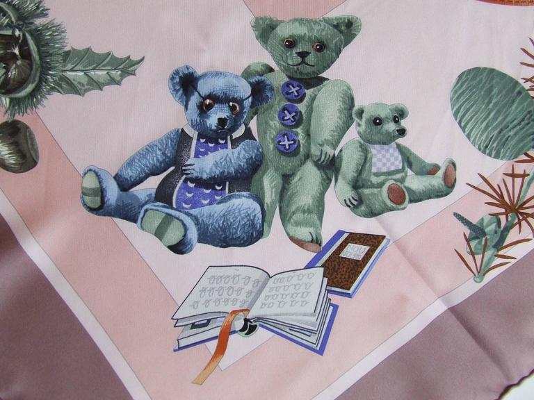 Hermes Silk Scarf Confidents des coeurs Bears Pink Blue 90 cm For Sale 3