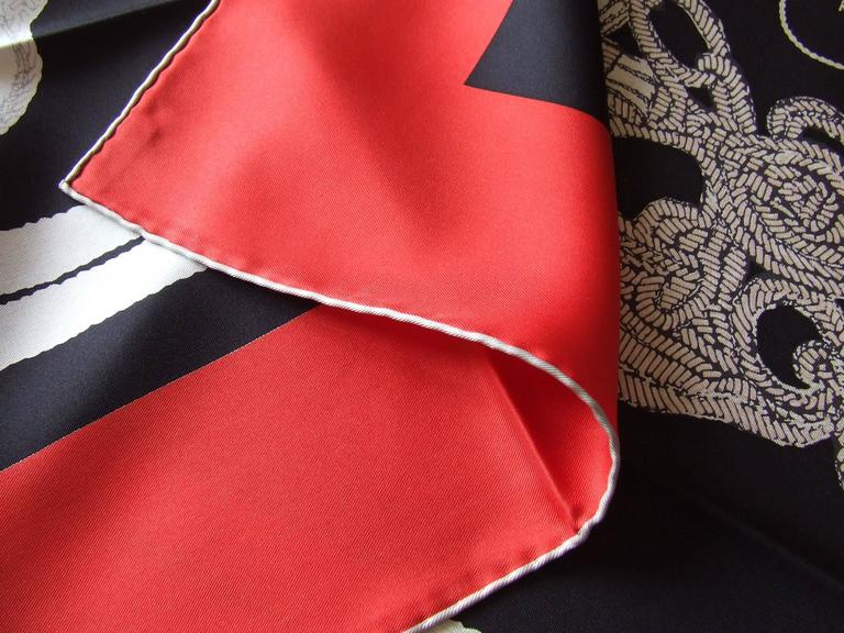 Hermes Silk Scarf Brides de Gala Brode Main Red Black White 90 cm Box For Sale 4