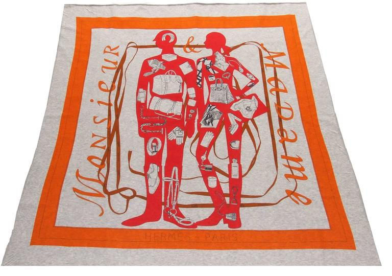 """Beautiful Authentic Hermes Scarf  Pattern: """"Monsieur et Madame""""  Designed by Bali Barret in 2009  Called """"T-Shirt"""" scarf, this version in cotton is from 2011  Made in France  Made of 100% Cotton  Colorways: Gris Chine : Orange / Rouge Vif (Grey,"""
