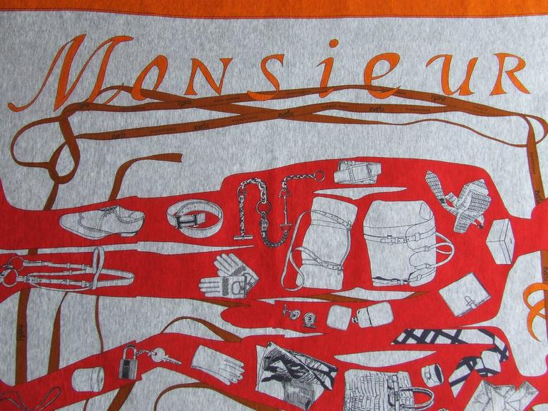 Rare Hermes Cotton Scarf Shawl T-Shirt Monsieur Madame Grey Red Orange 117 cm In Excellent Condition For Sale In ., FR