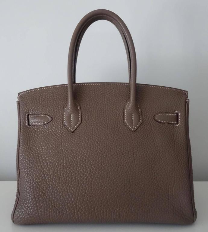 Hermes Birkin Handbag Etoupe Togo Leather PHW 30 cm 2