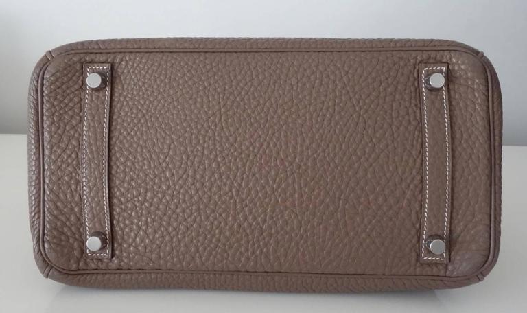 Hermes Birkin Handbag Etoupe Togo Leather PHW 30 cm 3