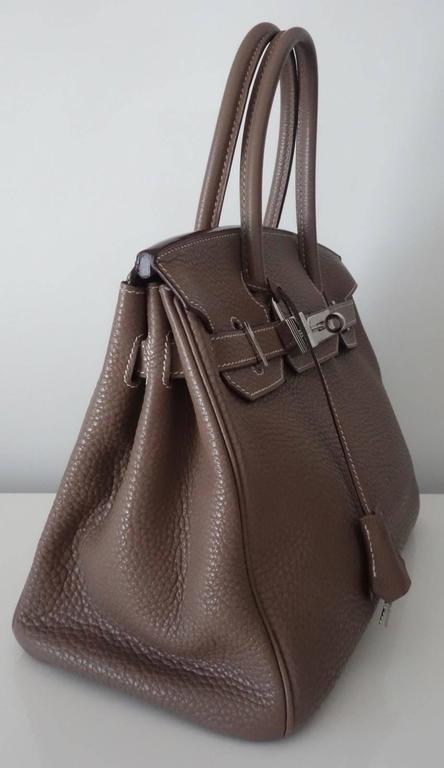 Hermes Birkin Handbag Etoupe Togo Leather PHW 30 cm 5