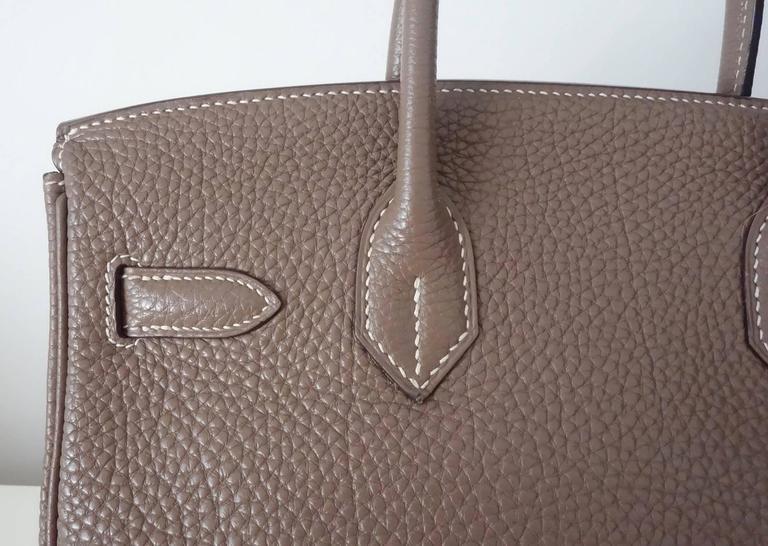 Hermes Birkin Handbag Etoupe Togo Leather PHW 30 cm 6