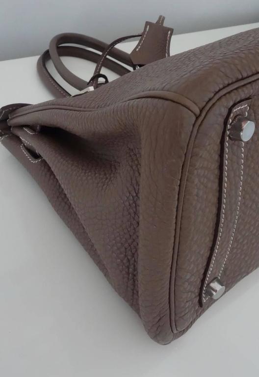 Hermes Birkin Handbag Etoupe Togo Leather PHW 30 cm 7