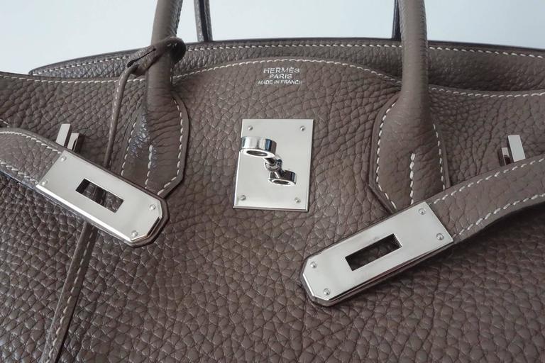 Hermes Birkin Handbag Etoupe Togo Leather PHW 30 cm 8