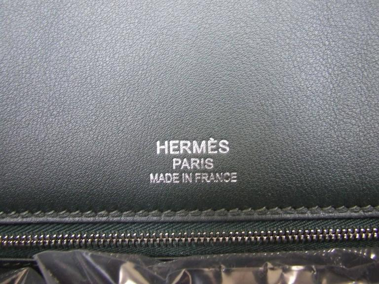 RARE Hermes Birkin Bag Toile Riga Veau Swift Leather Beige Dark Green 35 cm BNIB For Sale 2