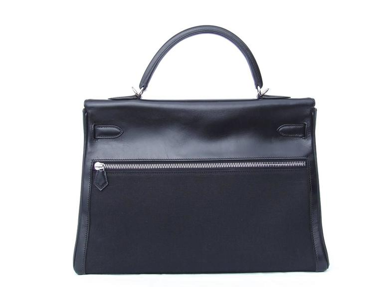 Hermes Kelly Lakis Handbag Black Toile Leather PHW 35 cm 2