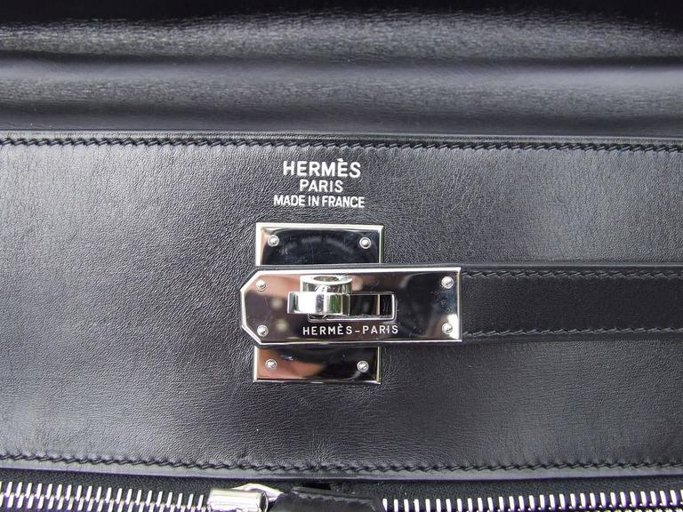 Hermes Kelly Lakis Handbag Black Toile Leather PHW 35 cm 6
