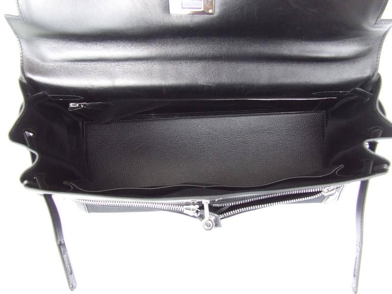 Hermes Kelly Lakis Handbag Black Toile Leather PHW 35 cm 7