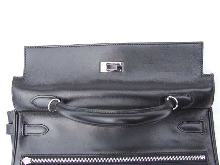 Hermes Kelly Lakis Handbag Black Toile Leather PHW 35 cm 8