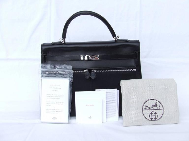 Hermes Kelly Lakis Handbag Black Toile Leather PHW 35 cm 10