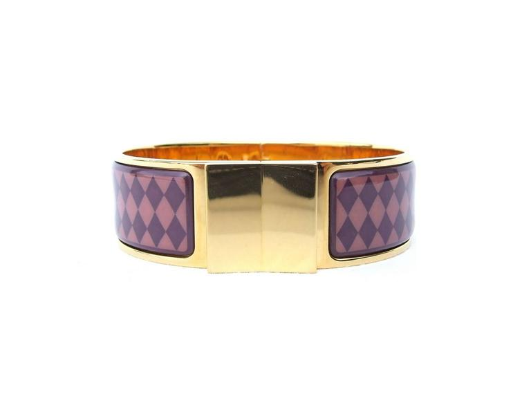 Beautiful hermes clic clac bracelet enamel printed gold hardware size 60 for - Dimensions clic clac ...