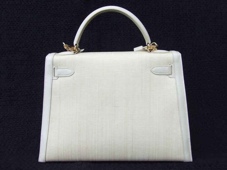 Rare Hermes Kelly Sellier Bag Crinoline Horse Hair Beige Gold Hdw 32 cm 2
