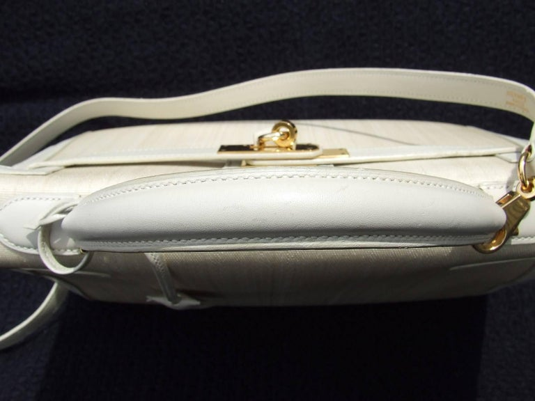 Rare Hermes Kelly Sellier Bag Crinoline Horse Hair Beige Gold Hdw 32 cm 5