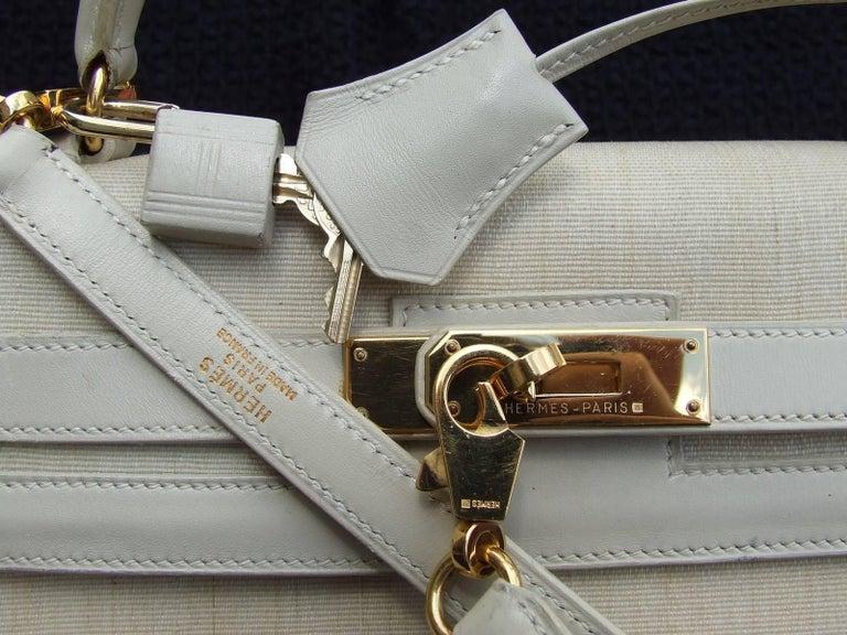 Rare Hermes Kelly Sellier Bag Crinoline Horse Hair Beige Gold Hdw 32 cm 6