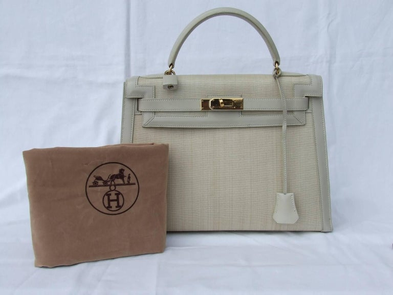 Rare Hermes Kelly Sellier Bag Crinoline Horse Hair Beige Gold Hdw 32 cm 10