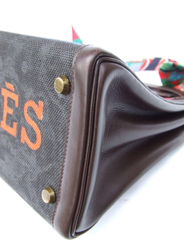 Hermes Kelly Bag Painted Canvas Toile Brown Box Leather GHW Unique Piece 8